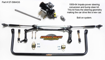 This photo show Global West�s new steering system for 1959-64 Impalas, El Camino, and Biscayne models. The kit is a power steering conversion that removes the factory steering linkage system and replaces it with current steering components, eliminating the power assist ram and control valve. The box is a internal power unit and the center link that has been a problem since day one has been replaced.  Bump steer is fixed by installing this kit. See Global West tech videos.