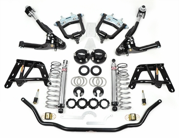 1964, 1965, 1966 Mustang Coilover Front End Kit Negative Roll Double Block Single Adjustable Global West Suspension