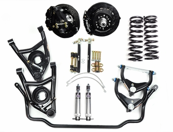 Global West's best handling street performance front suspension package for 1964, 1965, 1966, 1967 big block A-bodies. The highly rated KT423 kit featuring modular forged aluminum spindles and tubular arm kits provide dramatic handling improvements.