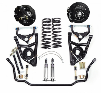 Global West's best handling street performance front suspension package for 1964, 1965, 1966, 1967 small block A-bodies. The highly rated KT423 kit featuring modular forged aluminum spindles and tubular arm kits provide dramatic handling improvements.