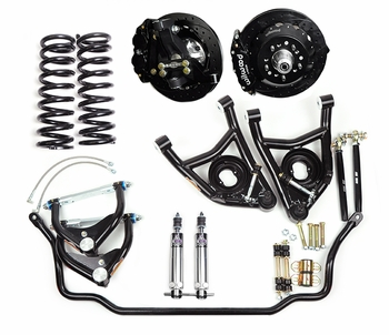 Global West's best handling street performance package for 1968, 1969, and 1970 small block A-bodies, the highly rated KT423 kit featuring modular forged aluminum spindles.