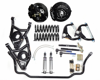 Global West's best handling street performance package for 1971 or 1972 big block A-bodies, the highly rated KT423 kit featuring modular forged aluminum spindles.