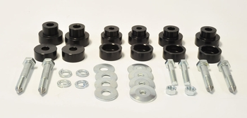 Body mount bushings for 1967-81 Camaro, Firebird, and Nova applications using Competition Engineering sub frame connectors. Manufactured by Global West.