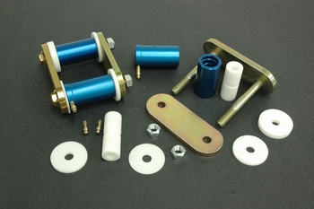 Del-A-Lum Bushing Shackle Kit used with Caltrac Bars and Non-Caltrac Leaf Springs 1964-73 Mustang -part # 102SH*