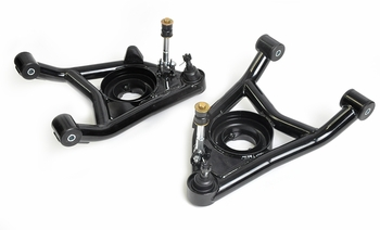 Tubular lower control arms with polyurethane bushings for 1964, 1965, 1966, 1967, 1968 1969, 1970, 1971 and 1972 GM A-body cars. Made in the USA!