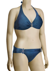 Aerin Rose Underwire Halter Bikini Top With Hardware 114 - Twilight