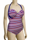 Audelle Sailor Moulded Halter Bandeau Swimsuit 168682 - Stripe Multi