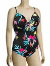 Audelle Tropics Moulded Plunge Underwire Swimsuit 172181 - Black Print