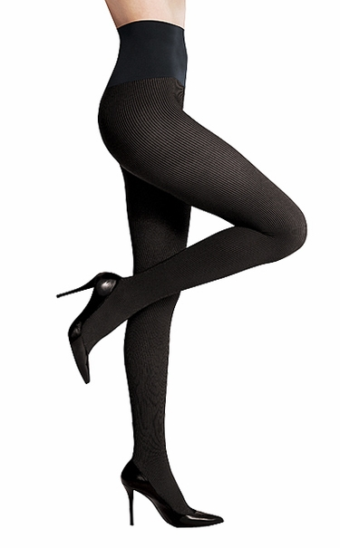 Commando Dig-Free Luxury Richly Ribbed Opaque Tights HRBT - Black