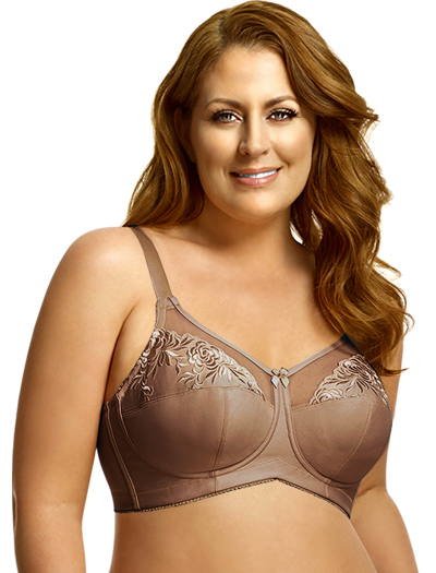 Elila Embroidered Microfiber Soft Cup Bra 1301 - Mocha