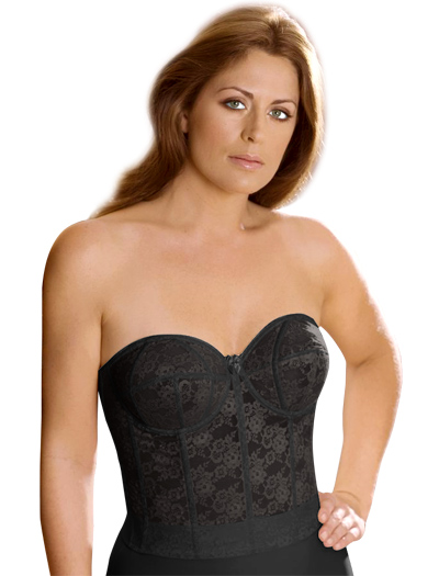 Elila Lace Strapless Longline Bra 6620 in Black, Elila 6620