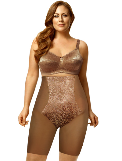 Elila Leopard High Waist Long Leg Shaper 8205 - Mocha