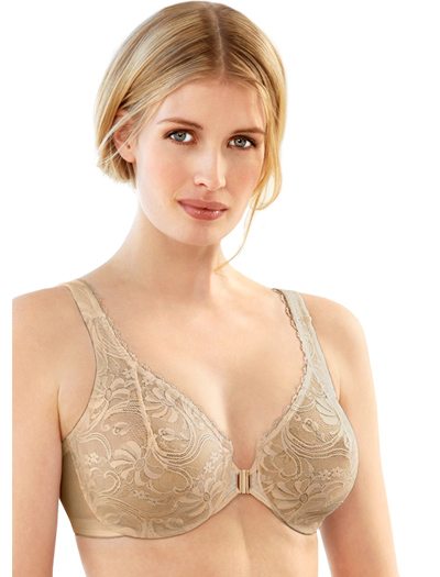 Glamorise Front Closing Stretch Lace Bra 9245 - Cafe