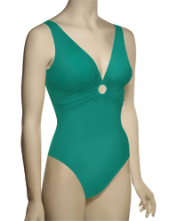 Karla Colletto Basic One Piece Rings V-Neck UW Bathing Suit 96-570 - Aquamarine