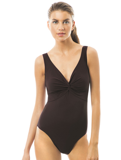 Karla Colletto Basic One Piece V-Neck Silent Underwire Swimsuit 55-D70 - Chocolate