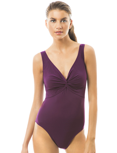 Karla Colletto Basic One Piece V-Neck Silent Underwire Swimsuit 55-D70 - Plum