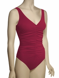 Karla Colletto Basic One Piece V-Neck Underwire Swimsuit BA-N70 - Garnet