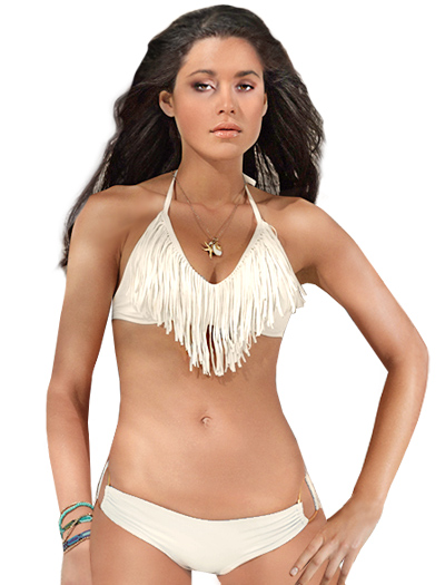 L-Space Fringe Benefits Audrey Halter Bikini Top FR56T13 - Cream