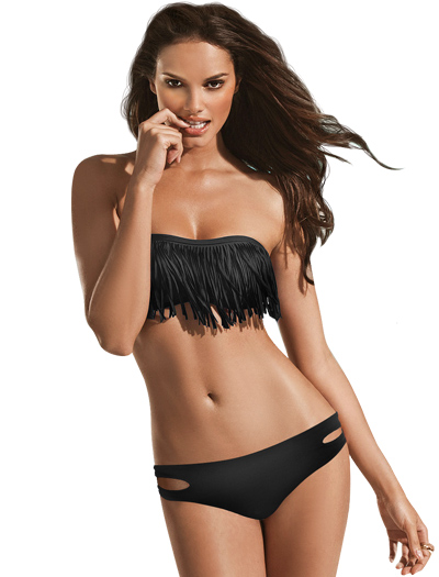 L-Space Fringe Benefits Dolly Bandeau Bikini Top FR5512 - Black