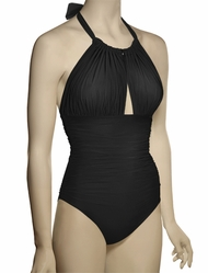Lenny Niemeyer Basic Ruched Halter Maillot Swimsuit 241 - Black