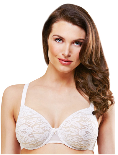 Lunaire Kingston Floral Lace Seamless Underwire Bra 10311 - White / Taupe