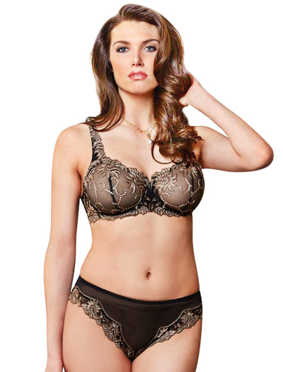 Lunaire Sevilla Embroidered Balconette Underwire Bra 14011 - Black / Taupe
