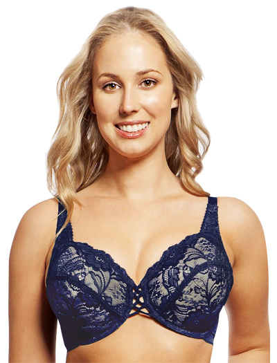 Lunaire Wales Lace Criss Cross Center Underwire Bra 27311 - Sapphire