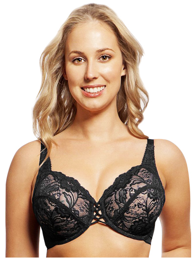 Lunaire Wales Lace Criss Cross Center Underwire Bra 27311 - Black