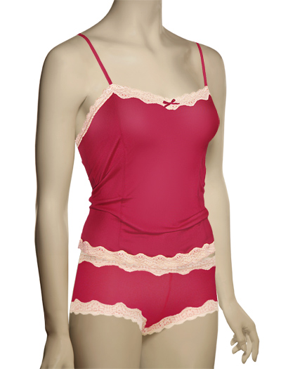 Mary Green Silk Knit With Lace Camisole LL5 - Red / Crmpuff