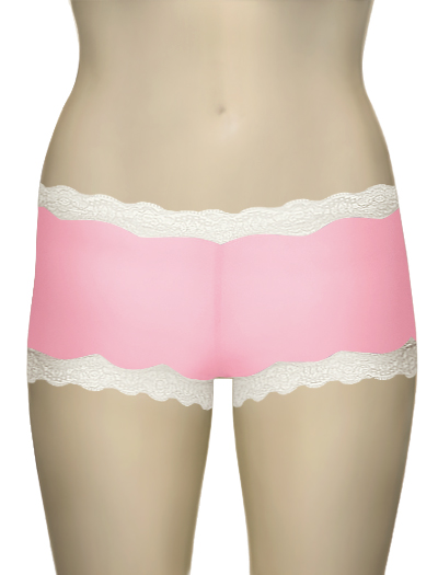Mary Green Silk Knit With Lace Hip Hugger Boyshort LL3 - Pink Panther
