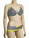 Miss Mandalay Bardot Halter Bikini Top BARD01GUH - Black / Yellow