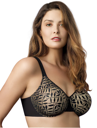Olga Sheer Leaves Minimizer Bra 35519 - Black / Taupe