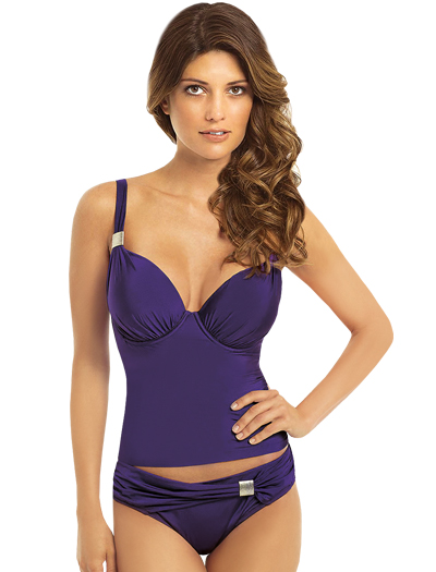 Panache Halle Underwire Padded Plunge Tankini Top SW0751 - Violet
