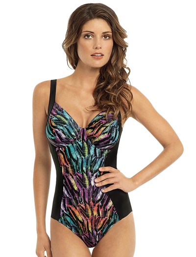 Panache Tallulah Underwire One Piece Swimsuit SW0740 - Feather Print