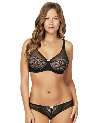 Parfait Penelope Unlined Wire Bra P5192 - Black / Blush