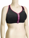 Shock Absorber Active Zipped Plunge Sports Bra Top S00BW - Black / Pink