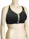 Shock Absorber Active Zipped Plunge Sports Bra Top S00BW - Black / Green