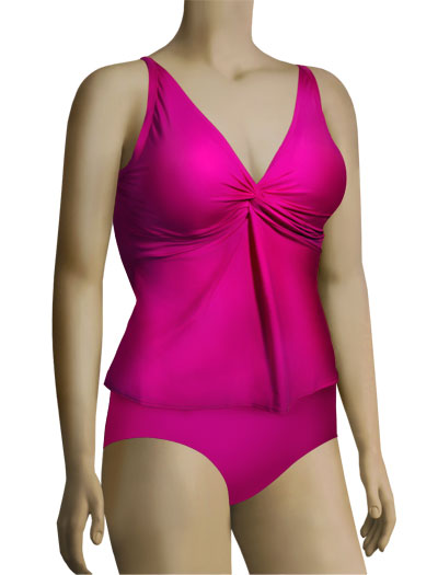 Sunsets Underwire Twist Tankini Top 77 - Fuchsia