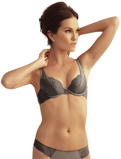 The Little Bra Company Mercedes Lace Demi Push Up Bra E009 - Slate