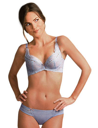 The Little Bra Company Nicole Lace Push Up Demi Cup Bra F005 - Hyacinth/Mink