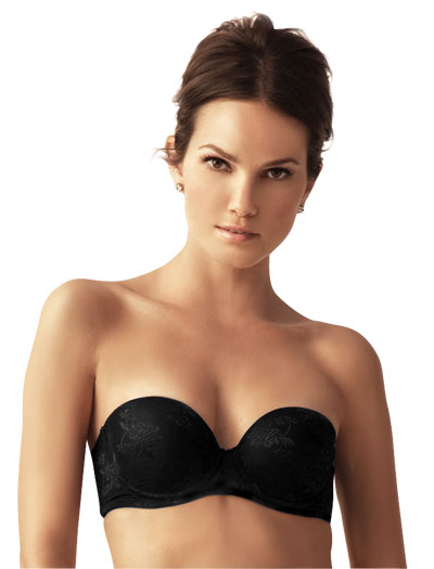 Little Bra Company Sascha Push Up Strapless Bra, TLBC F001 in Black