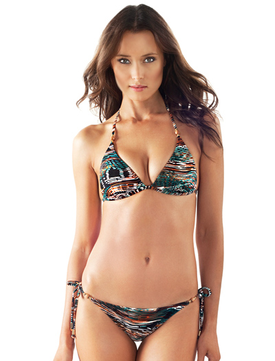 Voda Swim Envy Push Up Wood Bead String Bikini Top E02 - Belize
