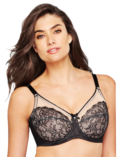 Wacoal Retro Chic Full Figure Underwire Bra 855186 - Black