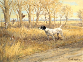 "<font size=""2"" font color=""red"">NEW</font> English Pointer and quail: Kansas Gold – giclee"