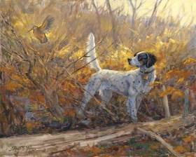 "<font size=""2""><font color=""red"">NEW</font></font> English Setter and woodcock: Parlor Tricks - original oil"