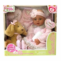 "18"" Vinyl baby Doll with Plush animal"