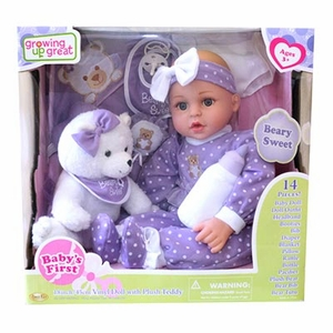 "18"" Vinyl baby Doll with Plush Teddy Bear"