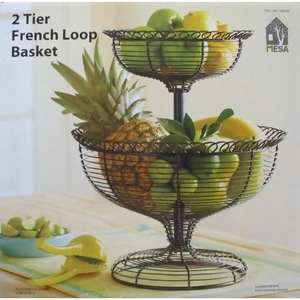 2 Tier French Loop Wrought Iron Basket - 2 Tier wrought iron fruit bas