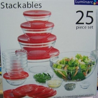 25 Piece Stackable Tempered Glass Set with lids
