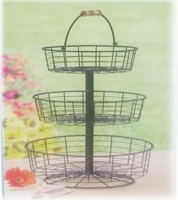 3 tier wrought iron display wire basket